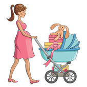 Pregnant  woman walks with  baby carriage and shopping for  child