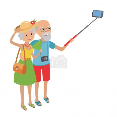 Senior couple makes selfie