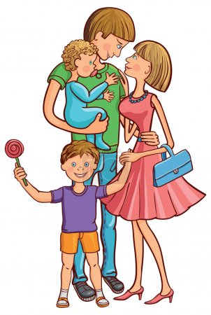 Illustration for Vector illustration of happy family with a baby. - Royalty Free Image