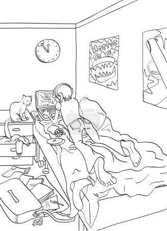 Illustration pour Étudiant dans sa chambre qui passe son temps libre à l'ordinateur . - image libre de droit