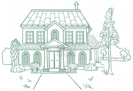 Illustration for Vector illustration of modern house. Lines style. - Royalty Free Image