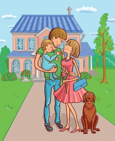 Illustration for Happy family with a child in the background of your own home. Vector illustration. - Royalty Free Image