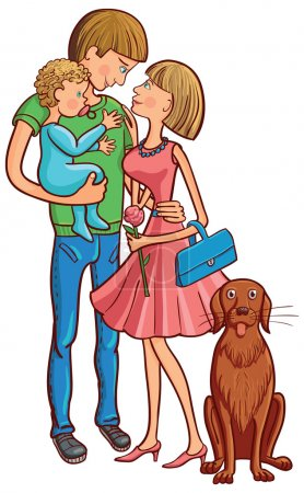 Illustration for Vector illustration of happy family with baby and dog. - Royalty Free Image