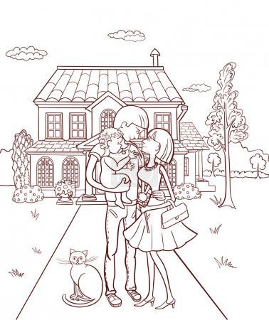 Illustration for Happy family with a child in the background of your own home Vector illustration. - Royalty Free Image