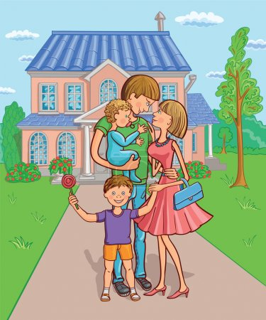 Illustration for Happy family with a children in the background of your own home. Vector illustration. - Royalty Free Image