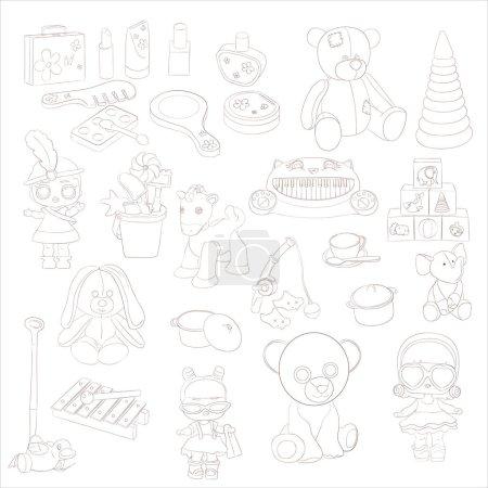 Illustration pour Jouets, ensemble de jouets, croquis de jouets pour jeux - image libre de droit