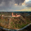 Aerial drone View over the Turaida Castle in Sigul...