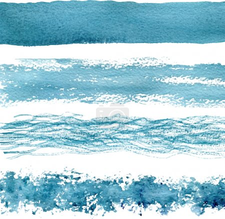 Blue watercolor brush strokes. Vector textures.