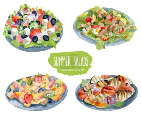 Summer salads. Vector watercolor illustration....