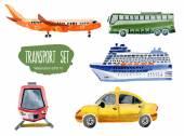 Transport set Vector watercolor illustration