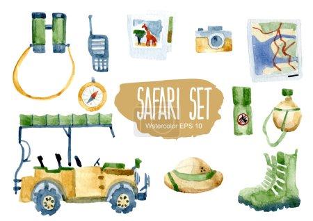 Illustration for Safari set. Vector watercolor illustration. - Royalty Free Image