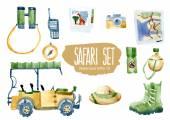 Safari set Vector watercolor illustration