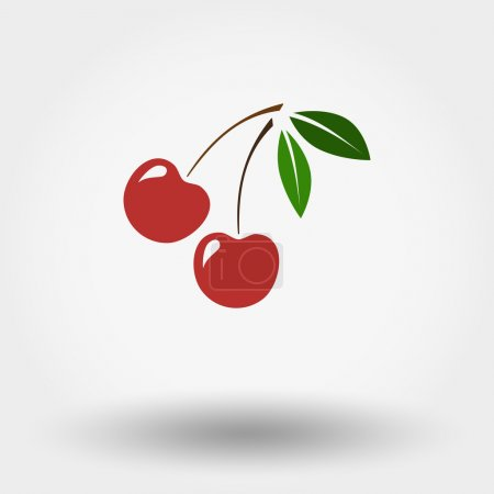 Illustration for Colour web icon Cherry  , vector illustration. Flat design style. - Royalty Free Image