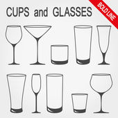 Cups and glasses Icons set for web and mobile application Vector illustration on a white background Flat design style