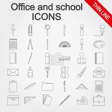 Office and school supplies icons set.