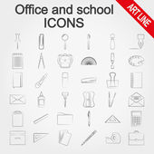 Office and school supplies icons set