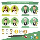 Infographics billiards icons