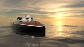 3D CG rendering of a motorboat