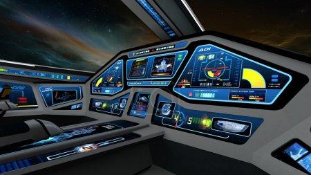 Photo pour Image de la salle de contrôle du vaisseau spatial . - image libre de droit