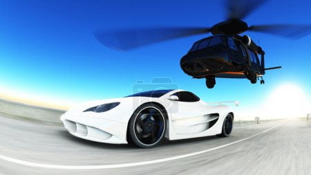 helicopter and sports car