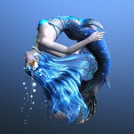 3D CG rendering of a mermaid.