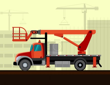 Bucket sign crane mounted on truck with constructi...