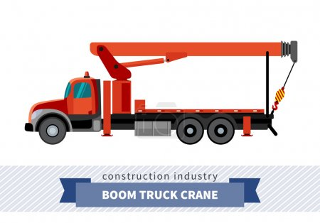 Boom truck crane mounted on truck. Side view mobil...