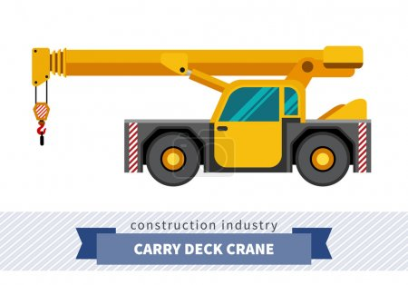 Carry deck industrial crane mounted on truck. Side...