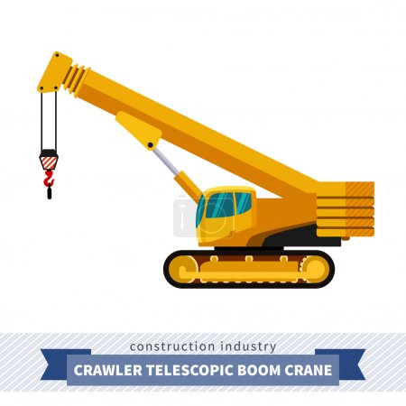 Crawler telescopic boom crane. Side view mobile cr...