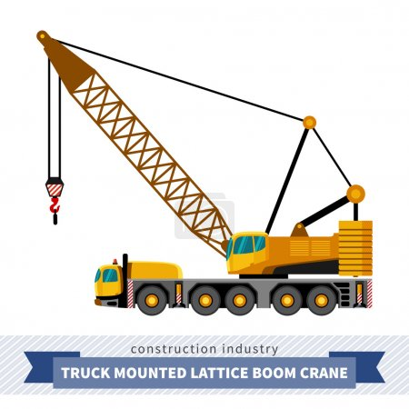 Truck mounted lattice boom. Side view mobile crane...