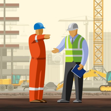 Construction worker discussion with manager at con...