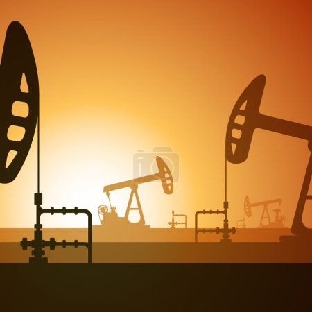 Vector illustration of working oil well on sunset ...