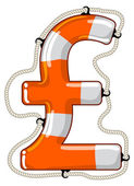 Pound sterling sign isolated lifebuoy