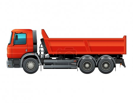 Red tipper dump truck color isolated vector