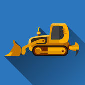 Classic loader dozer flat style icon with shadow
