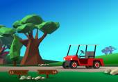 Golf cart on road