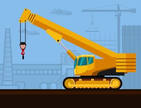 Crawler telescopic boom crane with construction ba...