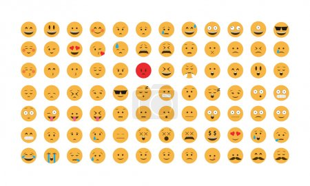 Illustration for Set of emoticon vector. Emoji vector. Smile icon set.  Emoticon icon web - stock vector. - Royalty Free Image
