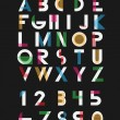 Black alphabetic fonts and numbers with color line...