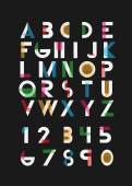 Black alphabetic fonts and numbers with color line Vector eps10 illustrator