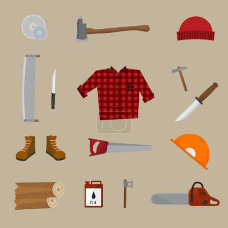 Illustration for Lumberjack vector icon set. A collection of Lumberjack themed symbols, Lumberjack set, wood and tools. Vector eps10 illustration. - Royalty Free Image