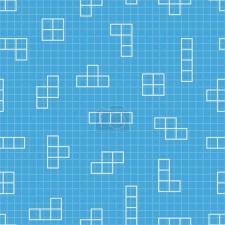 Illustration for Tetris elements. Vector seamless pattern. Game background. Simple illustration. Use for wallpaper, pattern fills, web page background, surface textures. - Royalty Free Image