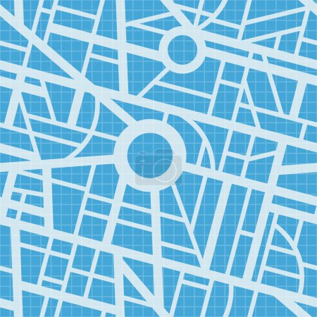 Illustration for City map blueprint. Vector seamless pattern. Roads, navigation, GPS. Simple design. Use for pattern fills, surface textures web page background, wallpaper. - Royalty Free Image