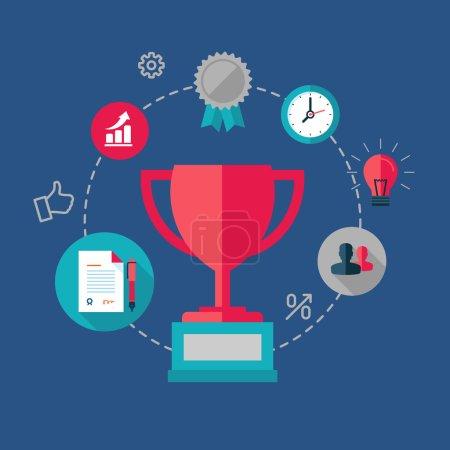 Winner concept, success at work, vector illustration