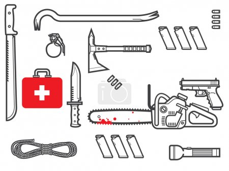 Illustration for Zombie survival kit vector illustration - Royalty Free Image