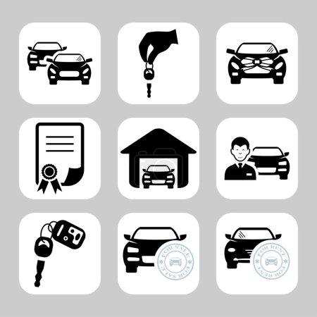 Illustration pour Icônes concessionnaire automobile - image libre de droit