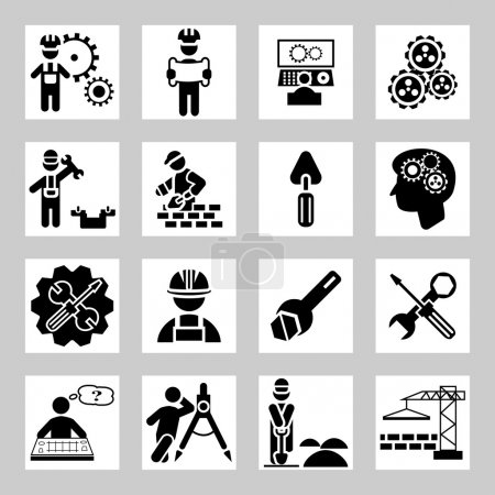 Engineering and construction vector icons set