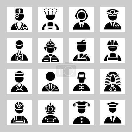 Photo pour Ensemble d'icônes vectorielles pour personnes et professions - image libre de droit