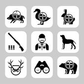 Hunting silhouettes vector icon set