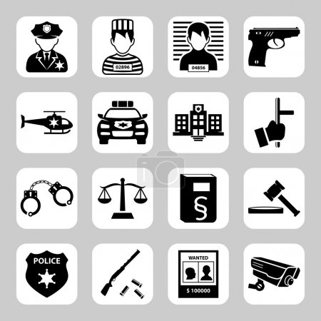 Police and criminality vector icon set